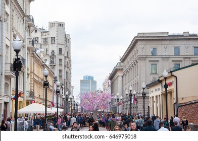 Moscow, Russia-May 01, 2017: Arbat Street full of tourists on May 01, 2017 in Moscow. Arbat, is a pedestrian street about one kilometer long in the historical centre of Moscow.