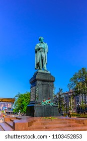 Moscow, Russia-May, 10, 2018: Monument to the bronze great Russian poet Alexander Pushkin on the Pushkin Square.