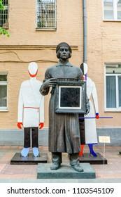 Moscow, Russia-May, 24, 2018: Monument to avant-garde artist Kazimir Malevich. Author Tsereteli, bronze.
