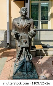 Moscow, Russia-May, 24, 2018: Photographer-bronze sculpture from the series Townspeople. Author Tsereteli.