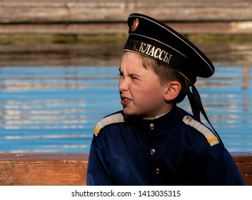 MOSCOW, RUSSIA-MAY 24, 2019: Sailing club naval cadets at competitions