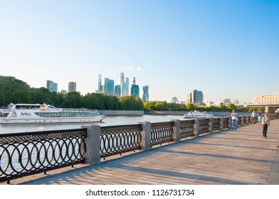 Moscow, Russia-May 24,2018: Luzhnetskaya embankment along Moscow River Moscow with the Moscow International Business Centre in the background, Russia.