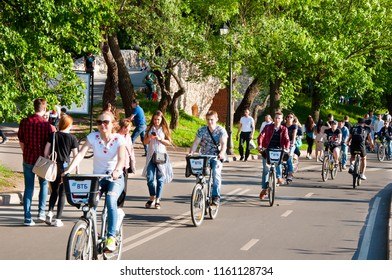 Moscow, Russia-May 27,2018: Gorky Central Park of Culture and Leisure full of locals, people ride bicycles.