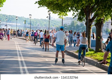 Moscow, Russia-May 27,2018: Gorky Central Park of Culture and Leisure full of locals and tourists during midday.Nearly 40,000 visitors come every day to bike, walk, jog, and rollerblade.