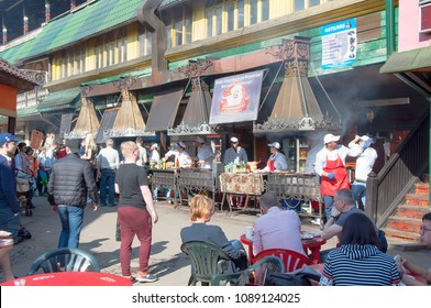 Moscow, Russia-May-07,2018: Daily Flea market full of people in Izmailovo Kremlin, people in local eateries have Russian meal.