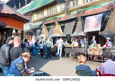 Moscow, Russia-May-07,2018: Daily Flea market during the midday full of people in Izmailovo Kremlin, tourista  have Russian mea lin local eateries .
