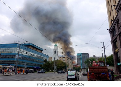Moscow / Russian Federation- 08,03,2019. Fire on Dubininskaya street in an abandoned building.