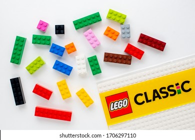 Moscow, Russian Federation - April 13, 2020: Separeted lego colorful bricks on white background top view
