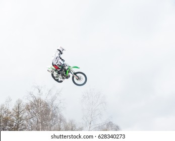 MOSCOW, RUSSIAN FEDERATION - APRIL 22: Unidentified motocross rider Whip jump on Motul Extreme Show in Moscow, Russian Federation on April 22, 2017.