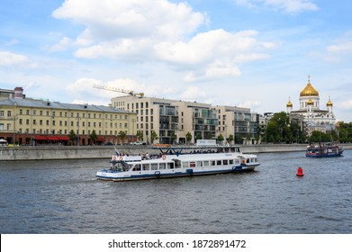 """Moscow, Russian Federation - August 23, 2020: Motor ship """"Luck"""" in the area of Prechistenskaya embankment"""