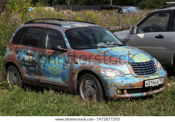 MOSCOW, RUSSIAN FEDERATION - AUGUST 3, 2019: Cool art tuning car in Moscow city (Russia)