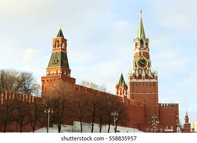 Moscow, Russian Federation - February 05, 2015: Kremlin Spasskaya tower on Red Square