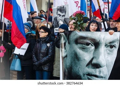 MOSCOW, RUSSIAN FEDERATION - FEBRUARY 27, 2016.  EDITORIAL - Procession of opposition in memory of the politician Boris Nemtsov killed a year ago.  Participants of procession.