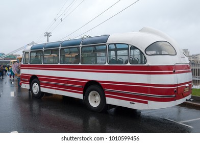 Moscow / Russian Federation - July 08, 2017: City bus LAZ-695E (Lvov-695E) at the exhibition on Frunze embankment during the celebration of Day of the Moscow transport