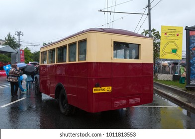 Moscow / Russian Federation - July 08, 2017: Bus ZiS-8 at the exhibition on Frunze embankment during the celebration of Day of the Moscow transport