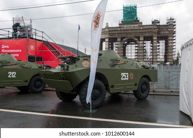 Moscow / Russian Federation - July 08, 2017: Combat reconnaissance patrol vehicle BRDM-2 at the exhibition in front of the Main Entrance of VDNH during the celebration of Day of the Moscow transport