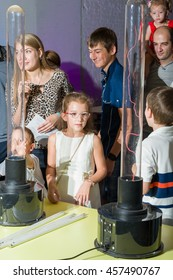 MOSCOW, RUSSIAN FEDERATION - JULY 24: Nano-city festival. Visitors of the festival participate in experiments with elecricity. 2016, ARTPLAY, Moscow, Russia.