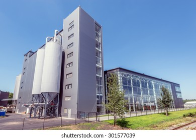 Moscow, Russian Federation, July 26, 2015: Exterior of the Moscow Brewing Company by the railway.