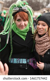 MOSCOW, RUSSIAN FEDERATION - MARCH 15, 2014: Annual traditional parade in honor of St. Patrick's Day (Irish national holiday) in Park Sokolniki, Moscow. Girl in subculture style (cyberpunk)
