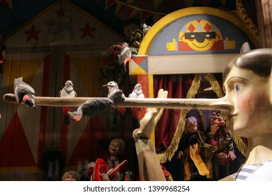 """MOSCOW, RUSSIAN FEDERATION - NOVEMBER 16, 2016: New Year's and Christmas creative show windows of TSUM department store in Moscow city (Russia) - based on fairy tales. """"The Adventures of Pinocchio"""""""