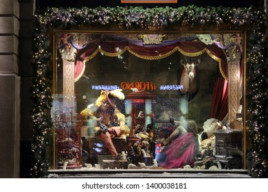"MOSCOW, RUSSIAN FEDERATION - NOVEMBER 16, 2016: New Year's and Christmas creative show windows of TSUM department store in Moscow city (Russia) - based on fairy tales. ""Puss in Boots"""