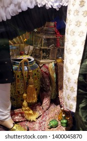 """MOSCOW, RUSSIAN FEDERATION - NOVEMBER 16, 2016: New Year's 2017 and Christmas creative show windows of TSUM department store in Moscow city (Russia) - based on fairy tales. """"The Story of Caliph Stork"""""""