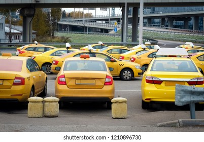 Moscow, Russian Federation - October 22, 2017: Cars from service Yandex Taxi wating for the order at the parcking