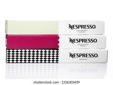 MOSCOW, RUSSIA-November 21, 2018: Limited Collection Nespresso Variations Paris on white background. Nespresso is worldwide company of coffee capsules.