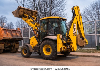 MOSCOW, RUSSIA,NOVEMBER,22.2018: Widespread model of the universal backhoe loader of JCB Company (Great Britain).