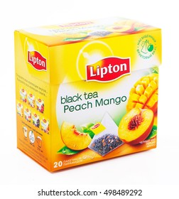 MOSCOW, RUSSIA-OCTOBER 14, 2016: Box of Lipton Black Tea Peach Mango. Studio shot, isolated on white background. Lipton is a world famous brand of tea.