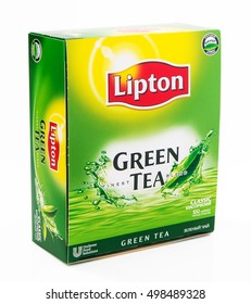 MOSCOW, RUSSIA-OCTOBER 14, 2016: Box of Lipton Black Tea with Mint. Studio shot, isolated on white background. Lipton is a world famous brand of tea.