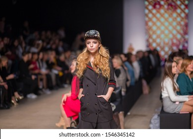 """Moscow, Russia-October 16, 2019. Demonstration of the collection of designer PRANKERS (SOUTH KOREA) in the framework of Mercedes-Benz fashion Week in the Central exhibition hall """"Manege"""""""