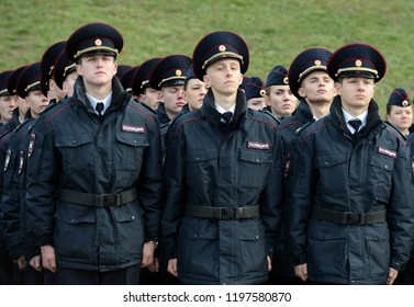 MOSCOW, RUSSIA-OCTOBER 17, 2015: Cadets of the police of the Moscow Law University of the Ministry of Internal Affairs of Russia on the ceremonial building