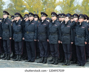 MOSCOW, RUSSIA-OCTOBER 17, 2015: Police cadets of the Moscow Law University of the Ministry of Internal Affairs of Russia at the ceremonial post.
