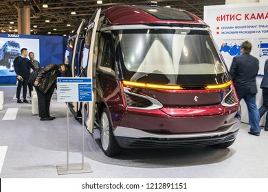 "Moscow, Russia-October 23, 2018: modern and technologically advanced small class electric bus KAMAZ at the international exhibition ""Busworld Russia 2018""."