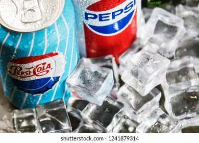 Moscow, Russia-October 25, 2018: carbonated Pepsi drink in different packaging design times. Pepsi non-alcoholic carbonated drink produced by the American company PepsiCo