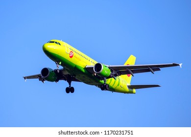 Moscow, Russia-September 02, 2018: Domodedovo airport, Airbus A319 S7 airlines plane lands