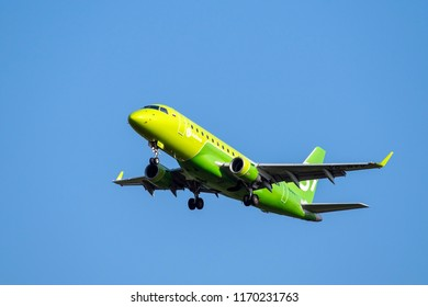 Moscow, Russia-September 02, 2018: Domodedovo airport,  Embraer 170  S7 airlines plane lands