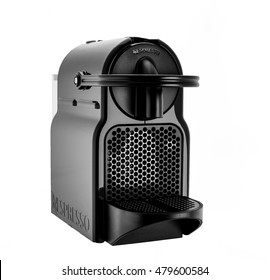 MOSCOW, RUSSIA-SEPTEMBER 07, 2016: Capsule coffee  machine. Nespresso is worldwide  leader company with coffe machines and capsules.