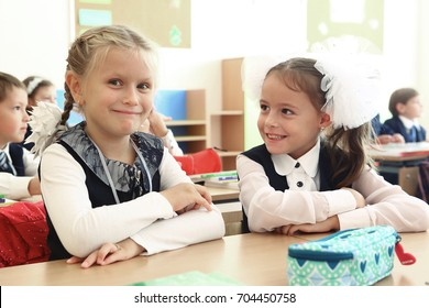 Moscow, Russia,September 1,2016: Unidentified first grade school kids girl on their first lesson school day in classes in Moscow, September 1, 2016.
