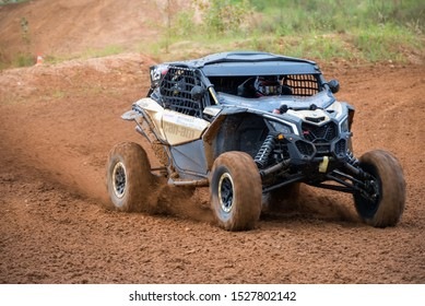 MOSCOW, RUSSIA-SEPTEMBER 14, 2019: Galeev 100,class Side-by-Side TURBO, in the Stage 3 All-Russian amateur competitions for owners of all-terrain vehicles and ATVs RZR CAMP 2019, MotoPark Velyaminovo