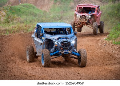 MOSCOW, RUSSIA-SEPTEMBER 14, 2019: Khramushin 110,class Side-by-Side TURBO, in the Stage 3 All-Russian amateur competitions for owners of all-terrain vehicles and ATVs RZR CAMP 2019, MotoPark Velyamin