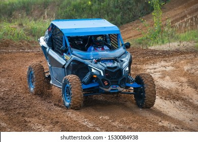 MOSCOW, RUSSIA-SEPTEMBER 14, 2019: Khramushin 110,class Side-by-Side TURBO, the Stage 3 All-Russian amateur competitions for owners of all-terrain vehicles and ATVs RZR CAMP 2019, MotoPark Velyaminovo