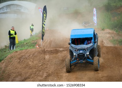 MOSCOW, RUSSIA-SEPTEMBER 14, 2019: Khramushin110,class Side-by-Side TURBO, in the Stage 3 All-Russian amateur competitions for owners of all-terrain vehicles and ATVs RZR CAMP 2019, MotoPark Velyamino