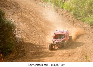 MOSCOW, RUSSIA-SEPTEMBER 14, 2019: Kudryavtsev 156,class Side-by-Side TURBO,the Stage 3 All-Russian amateur competitions for owners of all-terrain vehicles and ATVs RZR CAMP 2019, MotoPark Velyaminovo
