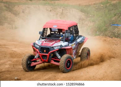 MOSCOW, RUSSIA-SEPTEMBER 14, 2019: Magfurov 117,class Side-by-Side ATMO, in the Stage 3 All-Russian amateur competitions for owners of all-terrain vehicles and ATVs RZR CAMP 2019, MotoPark Velyaminovo