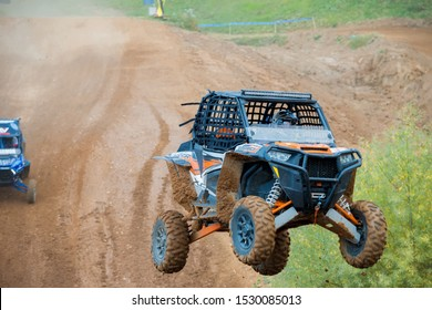 MOSCOW, RUSSIA-SEPTEMBER 14, 2019: Naishul 106,class Side-by-Side TURBO, in the Stage 3 All-Russian amateur competitions for owners of all-terrain vehicles and ATVs RZR CAMP 2019, MotoPark Velyaminovo