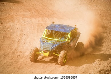 MOSCOW, RUSSIA-SEPTEMBER 14, 2019: Oreshkin 121,class Side-by-Side TURBO, in the Stage 3 All-Russian amateur competitions for owners of all-terrain vehicles and ATV RZR CAMP 2019, MotoPark Velyaminovo