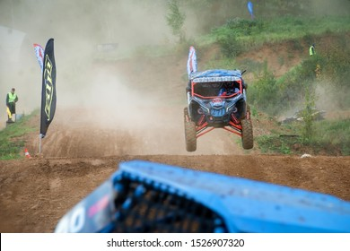 MOSCOW, RUSSIA-SEPTEMBER 14, 2019: Semenov,class Side-by-Side TURBO, in the Stage 3 All-Russian amateur competitions for owners of all-terrain vehicles and ATVs RZR CAMP 2019, MotoPark Velyaminovo