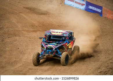 MOSCOW, RUSSIA-SEPTEMBER 14, 2019: Zakhozhy 187,class Side-by-Side TURBO, in the Stage 3 All-Russian amateur competitions for owners of all-terrain vehicles and ATVs RZR CAMP 2019,MotoPark Velyaminovo